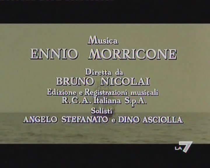 It is shown that the film was composed by Ennio Morricone (00:01:12)