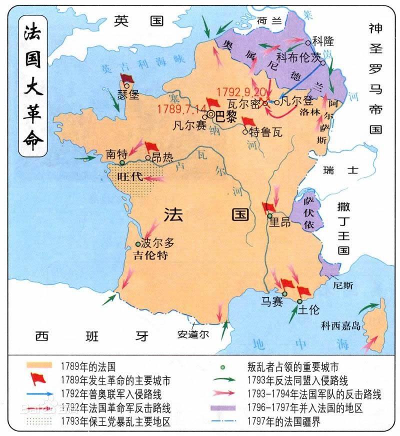 法国大革命形势图
