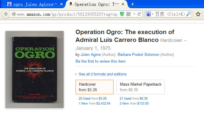 novle Operation Ogro: The Execution of Admiral Luis Carrero Blanco