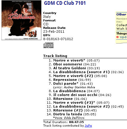 GDM CD Club 7101
