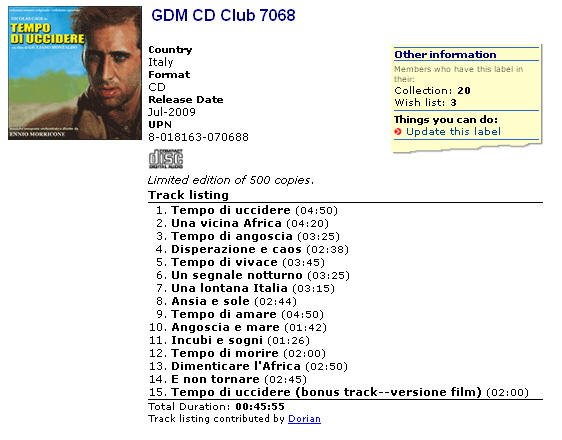 GDM CD Club 7068